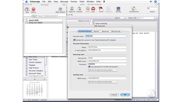 Configuring POP and IMAP settings: Entourage 2008 for Mac Essential Training