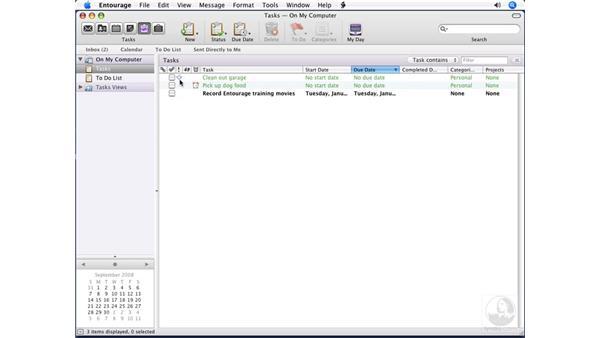 Creating tasks: Entourage 2008 for Mac Essential Training
