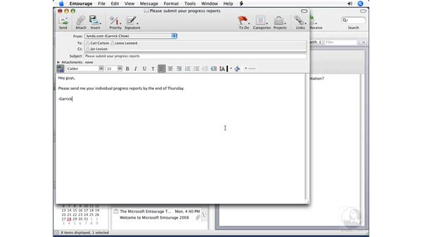Formatting text: Entourage 2008 for Mac Essential Training