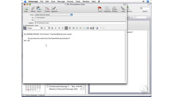 Replying to email: Entourage 2008 for Mac Essential Training