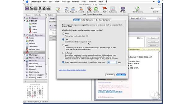 Managing junk mail: Entourage 2008 for Mac Essential Training