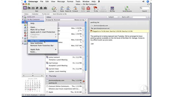 Creating message folders: Entourage 2008 for Mac Essential Training