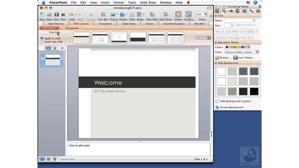 Adding and removing slides: PowerPoint 2008 for Mac Essential Training