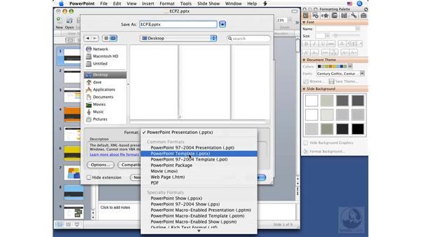 Saving presentations: PowerPoint 2008 for Mac Essential Training
