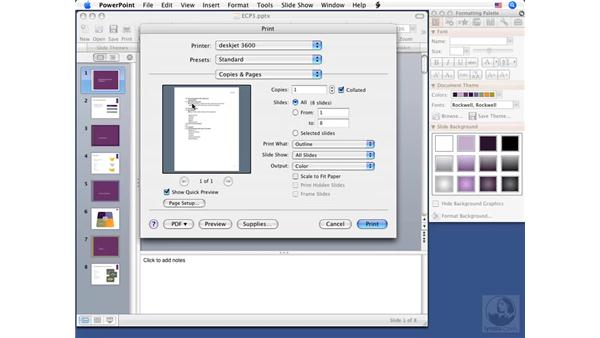 Previewing printouts in Tiger: PowerPoint 2008 for Mac Essential Training