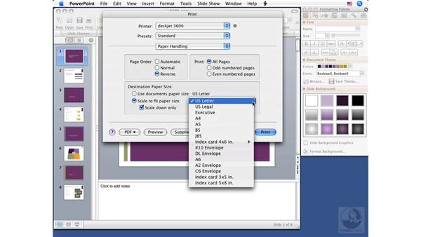 Setting print options: PowerPoint 2008 for Mac Essential Training