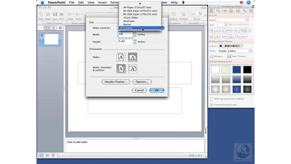 Using Page Setup: PowerPoint 2008 for Mac Essential Training