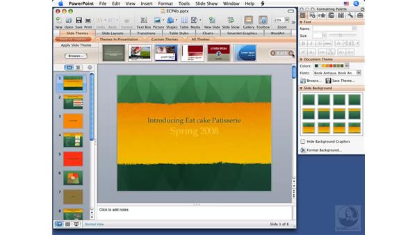 Using themes: PowerPoint 2008 for Mac Essential Training