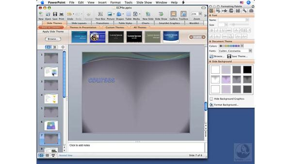 Using color schemes: PowerPoint 2008 for Mac Essential Training