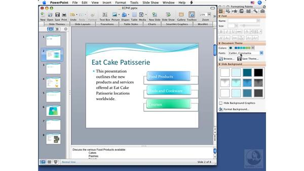 Using font schemes: PowerPoint 2008 for Mac Essential Training