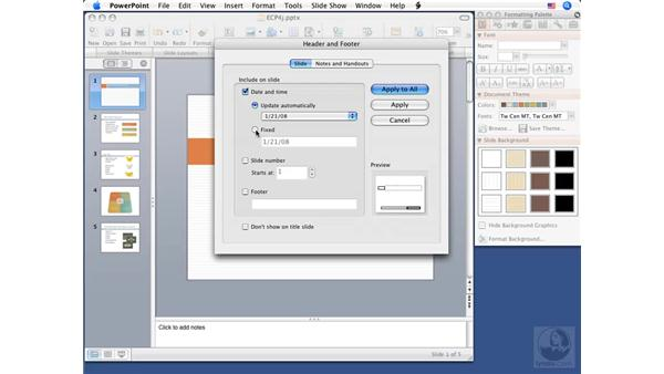 Working with headers and footers: PowerPoint 2008 for Mac Essential Training