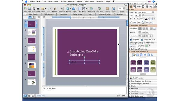 Adding text to slides: PowerPoint 2008 for Mac Essential Training
