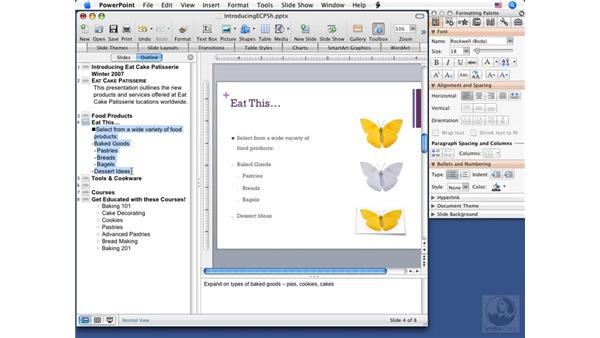 Working in Outline mode: PowerPoint 2008 for Mac Essential Training