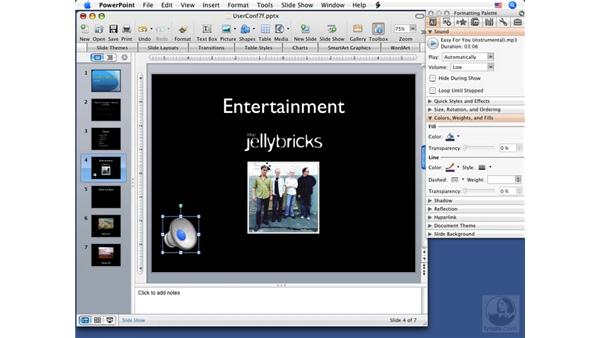 Using sound: PowerPoint 2008 for Mac Essential Training