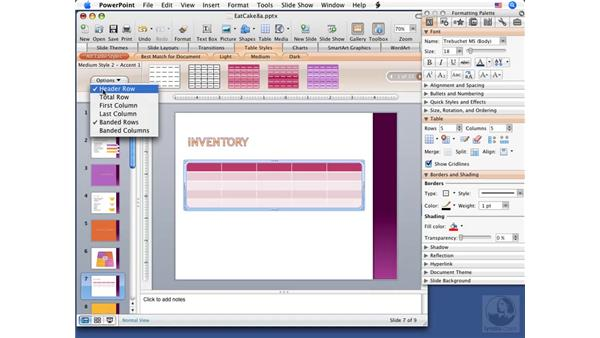 Inserting tables: PowerPoint 2008 for Mac Essential Training