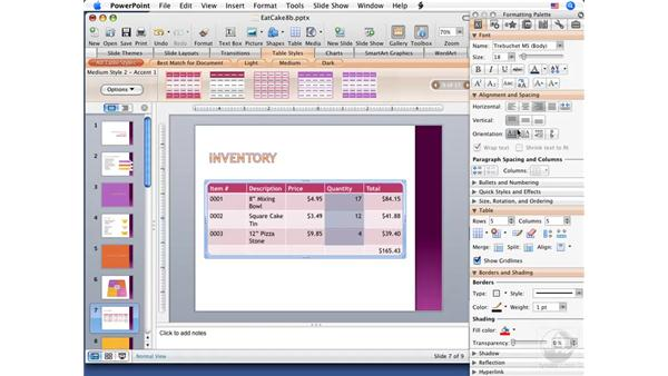 Editing and formatting tables: PowerPoint 2008 for Mac Essential Training