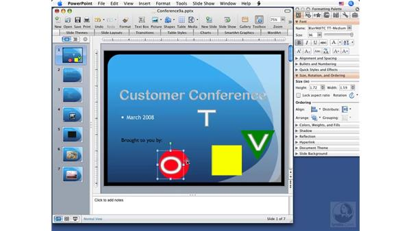 Arranging and grouping objects: PowerPoint 2008 for Mac Essential Training