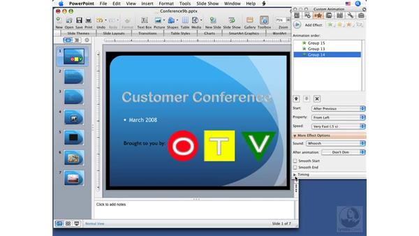 Animating objects: PowerPoint 2008 for Mac Essential Training