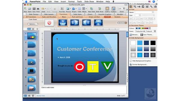 Using slide transitions: PowerPoint 2008 for Mac Essential Training