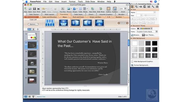 Creating self-running slideshows: PowerPoint 2008 for Mac Essential Training
