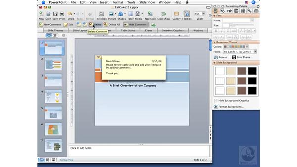 Using comments: PowerPoint 2008 for Mac Essential Training