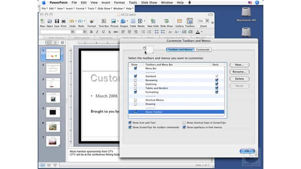Modifying toolbars: PowerPoint 2008 for Mac Essential Training