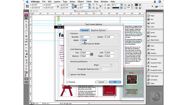 Adjusting text frame columns: InDesign CS3 Beyond the Basics
