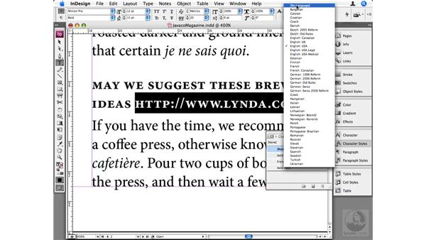 Using other languages: InDesign CS3 Beyond the Basics
