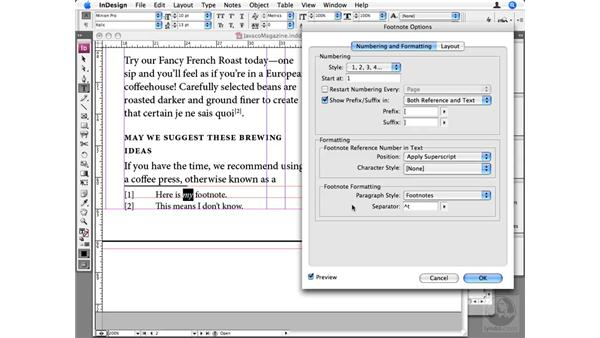 Using footnotes: InDesign CS3 Beyond the Basics
