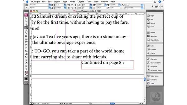 """Creating """"Continued on page..."""" numbers: InDesign CS3 Beyond the Basics"""