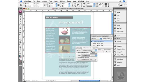 Transparency Flattener preview: InDesign CS3 Beyond the Basics