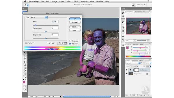 Reducing dramatic red skin tones: Photoshop CS3 Portrait Retouching Essentials