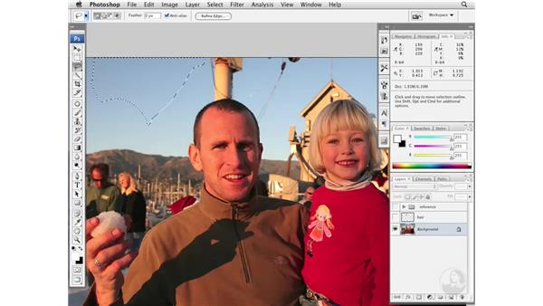 Removing distractions near subjects: Photoshop CS3 Portrait Retouching Essentials
