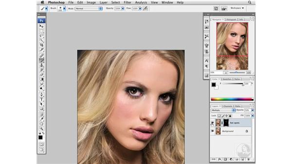 Reducing hot spots: Photoshop CS3 Portrait Retouching Essentials
