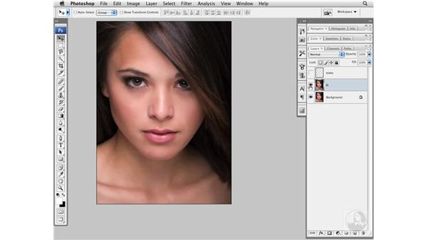 Improving the jaw line with the Liquify filter: Photoshop CS3 Portrait Retouching Essentials
