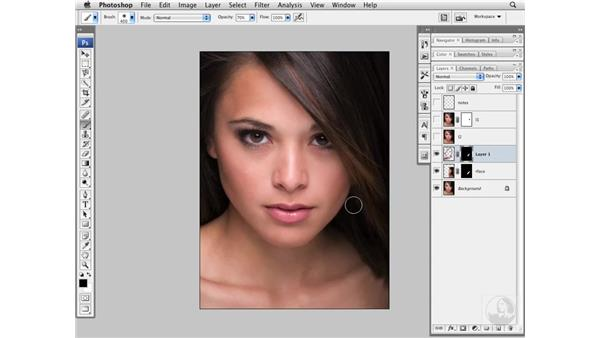 Improving the jaw line with the Free Transform tool: Photoshop CS3 Portrait Retouching Essentials