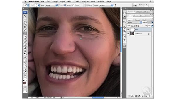 Reducing wrinkles with the Healing Brush tool: Photoshop CS3 Portrait Retouching Essentials