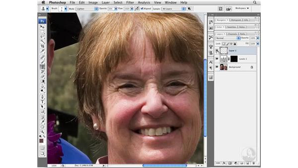 Reducing wrinkles by brightening: Photoshop CS3 Portrait Retouching Essentials