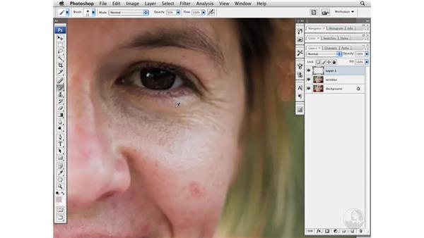 Reducing wrinkles with the Burn and Dodge tools: Photoshop CS3 Portrait Retouching Essentials
