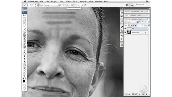 Reducing wrinkles with layer burning and dodging: Photoshop CS3 Portrait Retouching Essentials