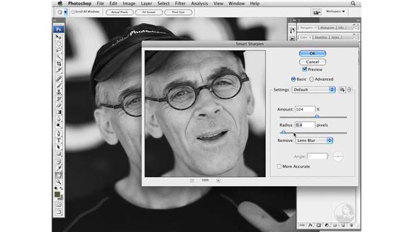 Sharpening eyes with Smart Sharpen: Photoshop CS3 Portrait Retouching Essentials