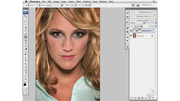 Increasing eye size with Free Transform: Photoshop CS3 Portrait Retouching Essentials