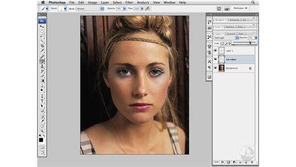 Darkening the edge of the eye: Photoshop CS3 Portrait Retouching Essentials