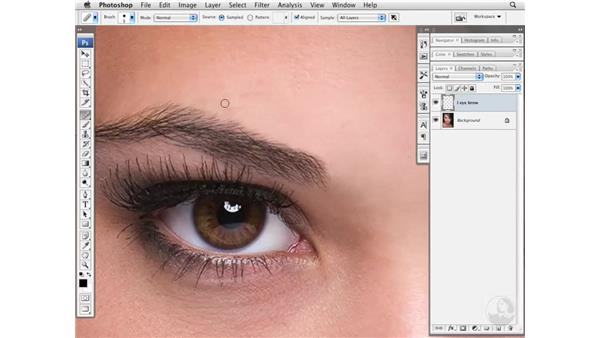 Cleaning up and darkening eyebrows: Photoshop CS3 Portrait Retouching Essentials