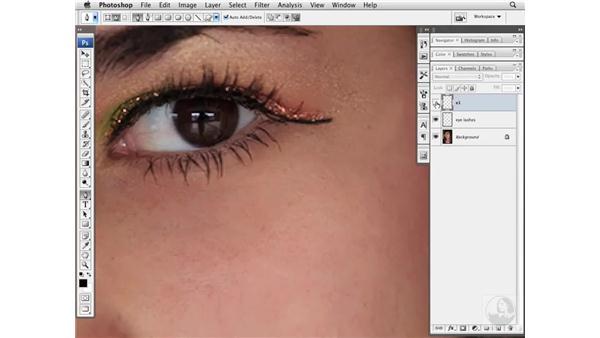 Adding eyelashes: Photoshop CS3 Portrait Retouching Essentials