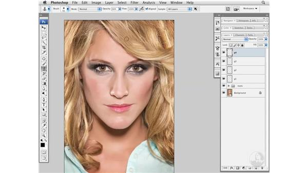Covering gaps in hair: Photoshop CS3 Portrait Retouching Essentials