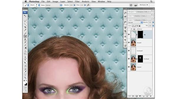 Removing flyaway hairs over a background: Photoshop CS3 Portrait Retouching Essentials