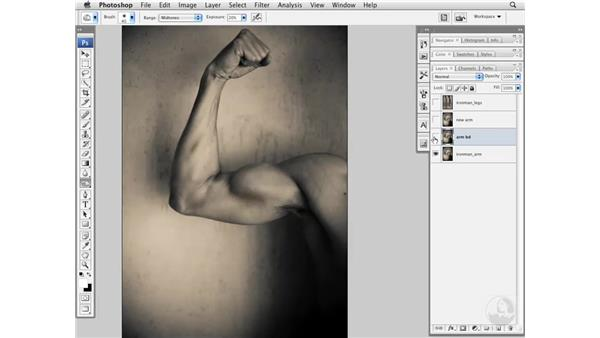Enhancing muscles with Burn and Dodge: Photoshop CS3 Portrait Retouching Essentials
