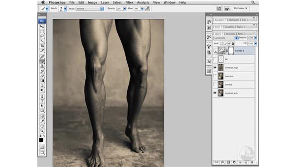 Enhancing muscles with Curves: Photoshop CS3 Portrait Retouching Essentials