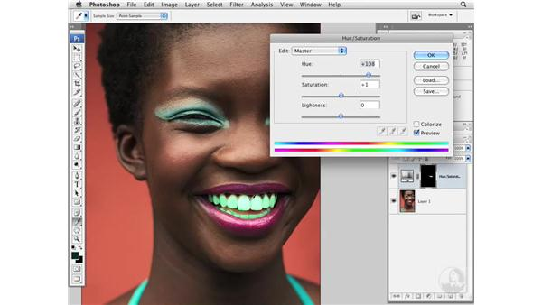 Whitening teeth with Hue and Saturation: Photoshop CS3 Portrait Retouching Essentials
